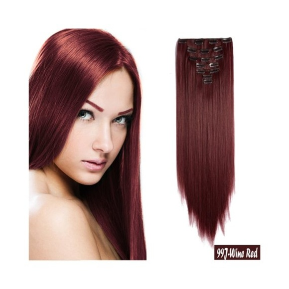 Straight Hair Extensions 26 Inch #99J Wine